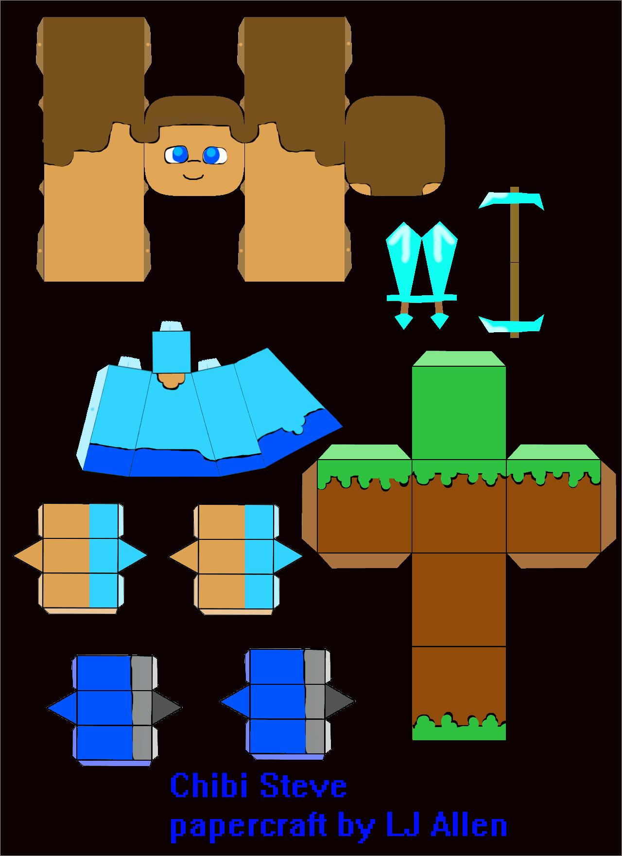 Minecraft Papercraft Models Papercraft Templates Minecraft Chibi Steve