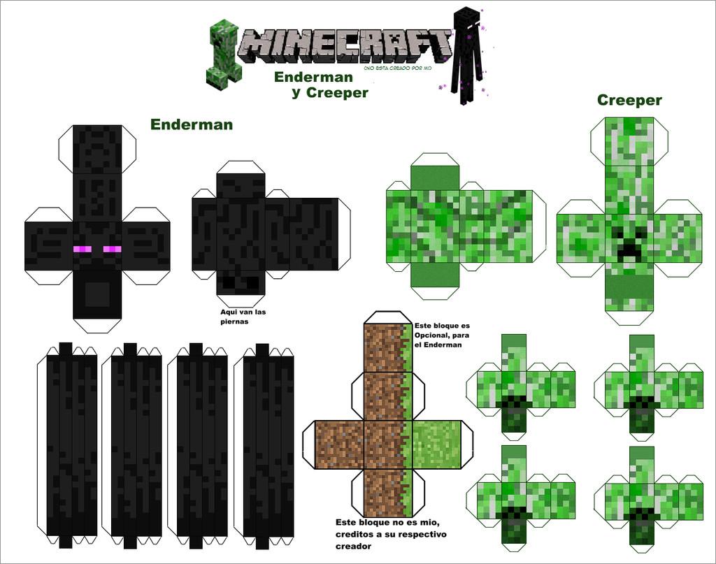 Minecraft Papercraft Models Printable Minecraft Creeper Papercraft Template