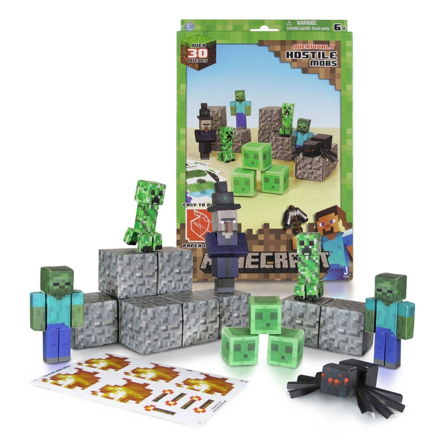 Minecraft Papercraft Overworld Set Papercraft Minecraft Figure Set Hostile Mobs Dvd Zone Shop