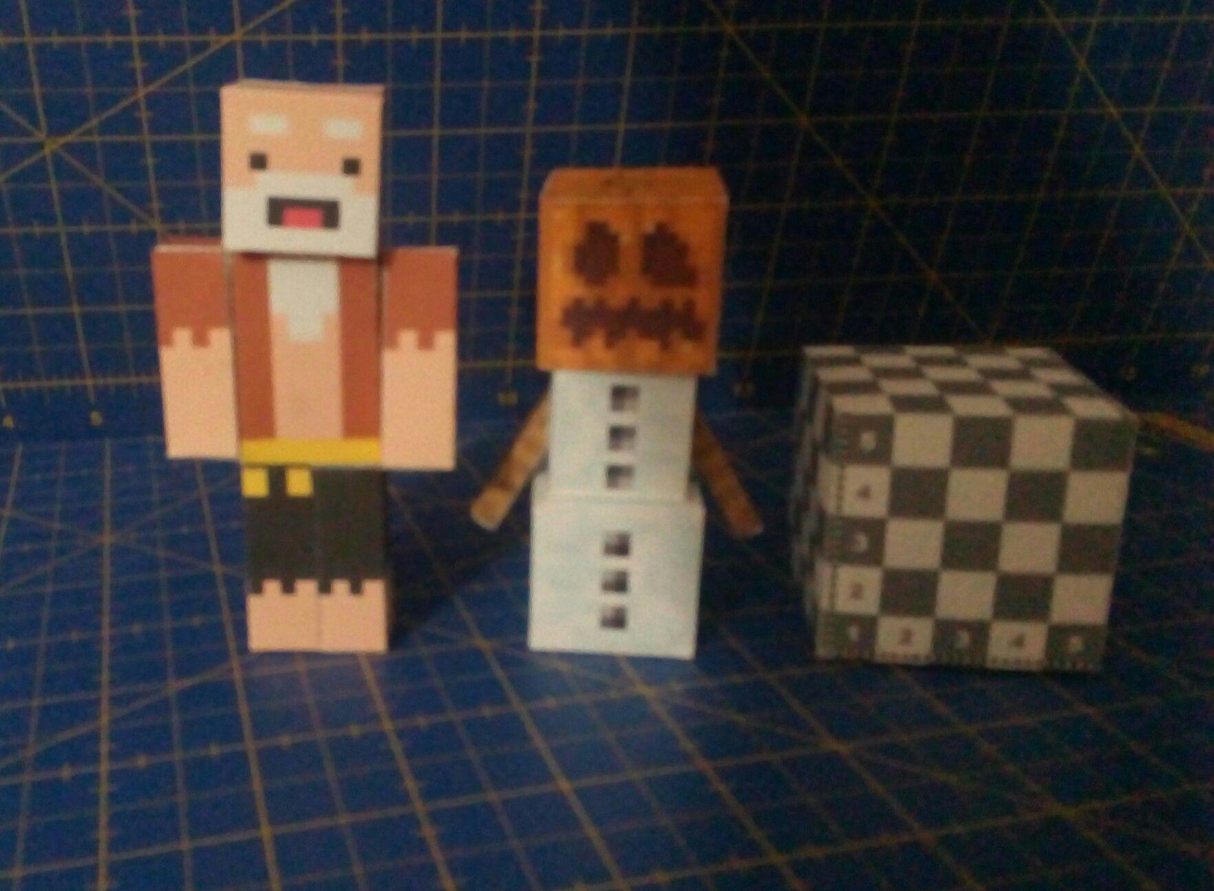Minecraft Papercraft Shelter Set Pacheco Cara Floja Y yeti Papercraft