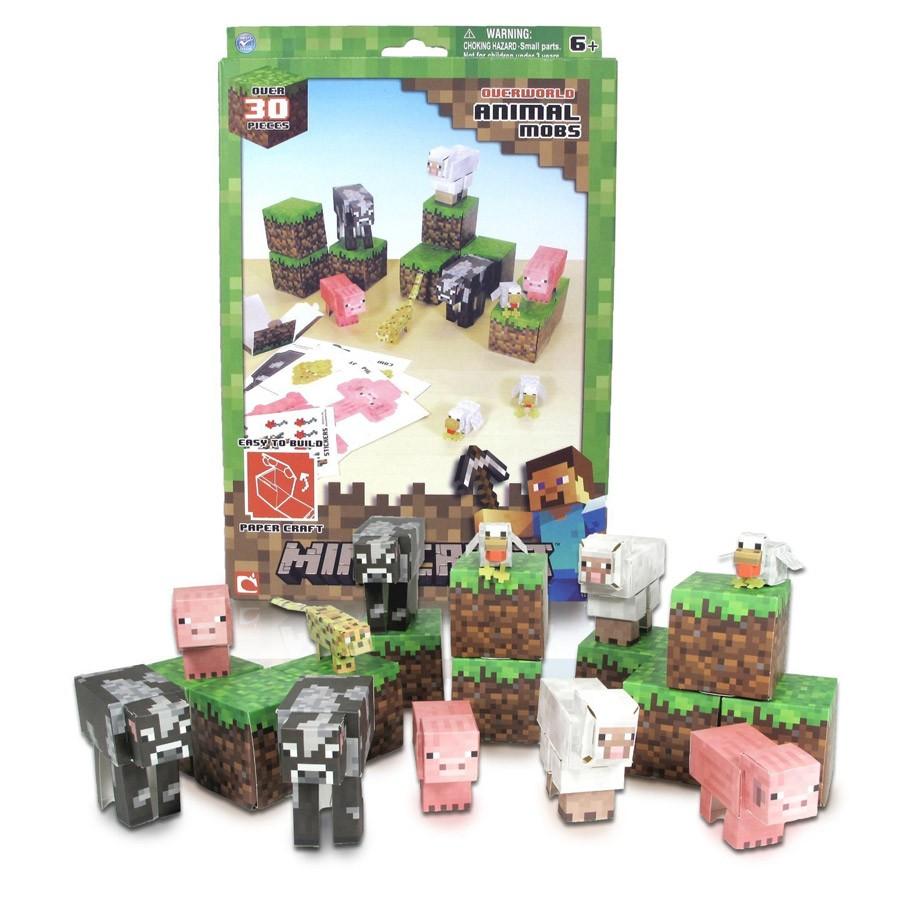 Minecraft Papercraft Shelter Set Papercraft Minecraft Figure Set Animal Mobs Dvd Zona Shop