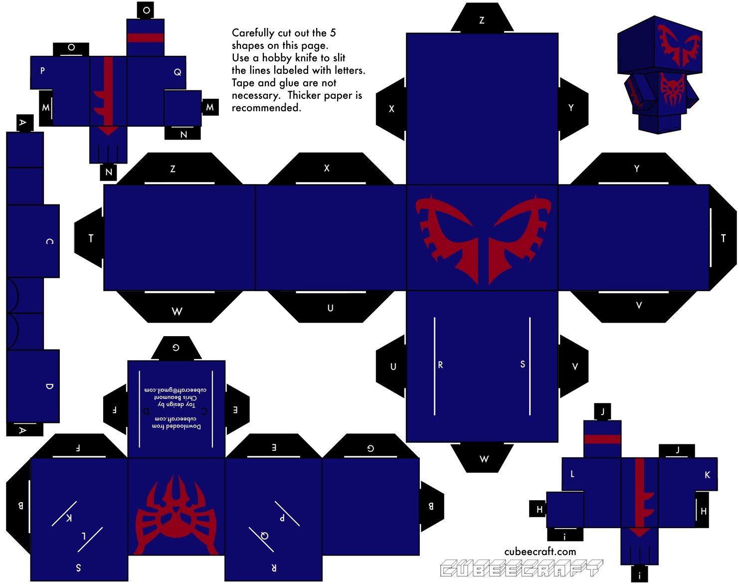 Minecraft Papercraft Spider Marvel En Cubeecraft Plantillas Para Imprimir Pinterest