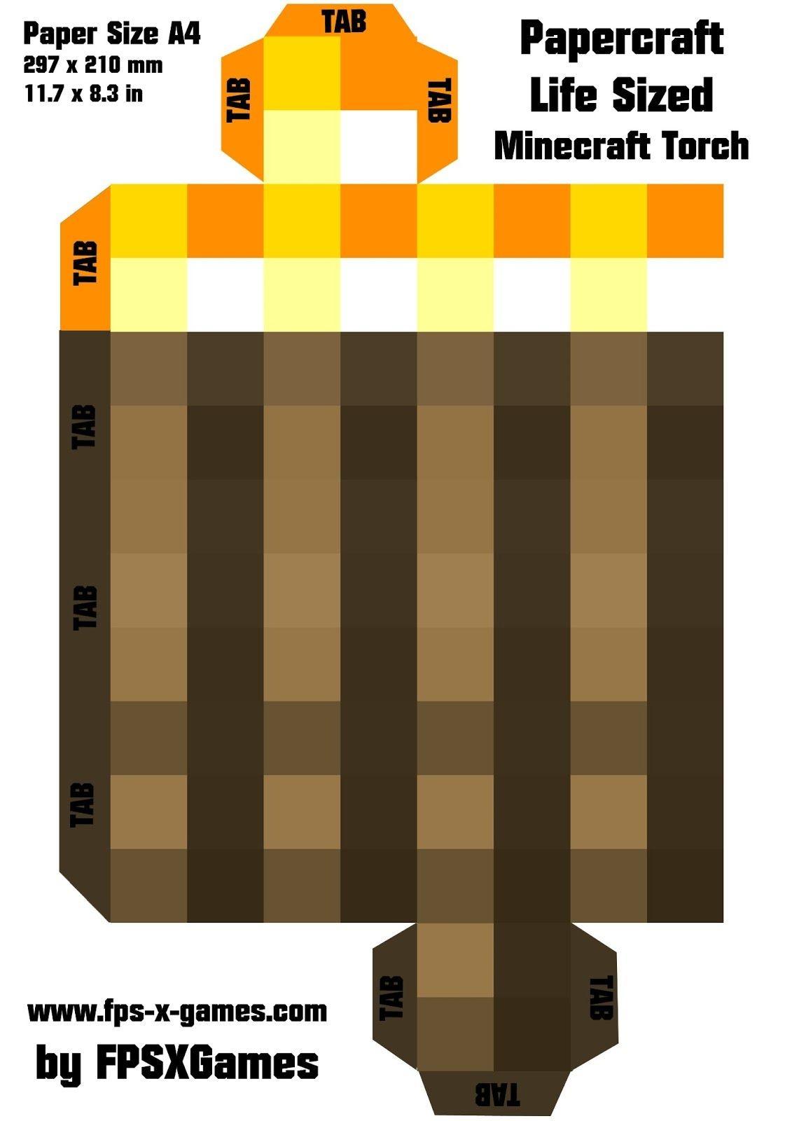 Minecraft Papercraft Sword Artesanato De Minecraft Passo A Passo – tocha Molde