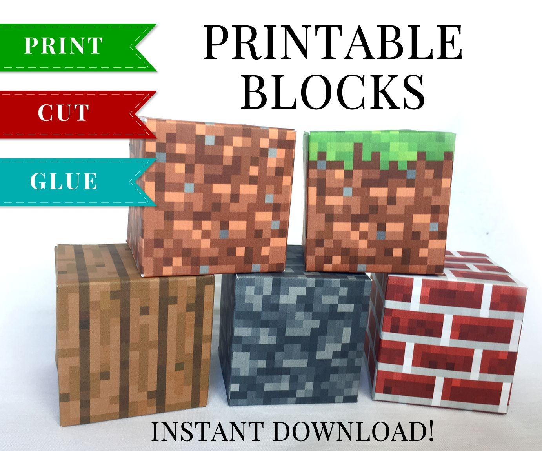 Minecraft Pig Papercraft Set 1 Minecraft Printable Papercraft Blocks