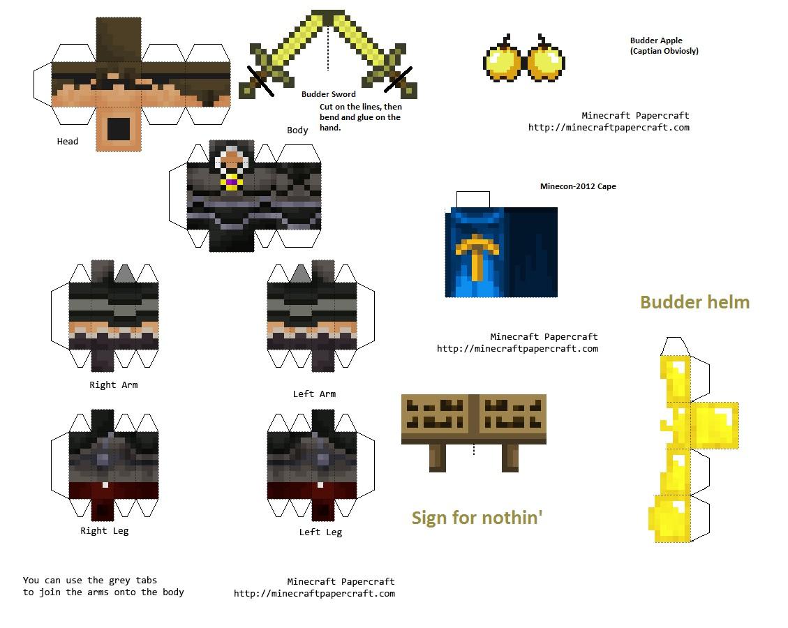 Minecraft Skin Papercraft Minecraft Papercraft Budder