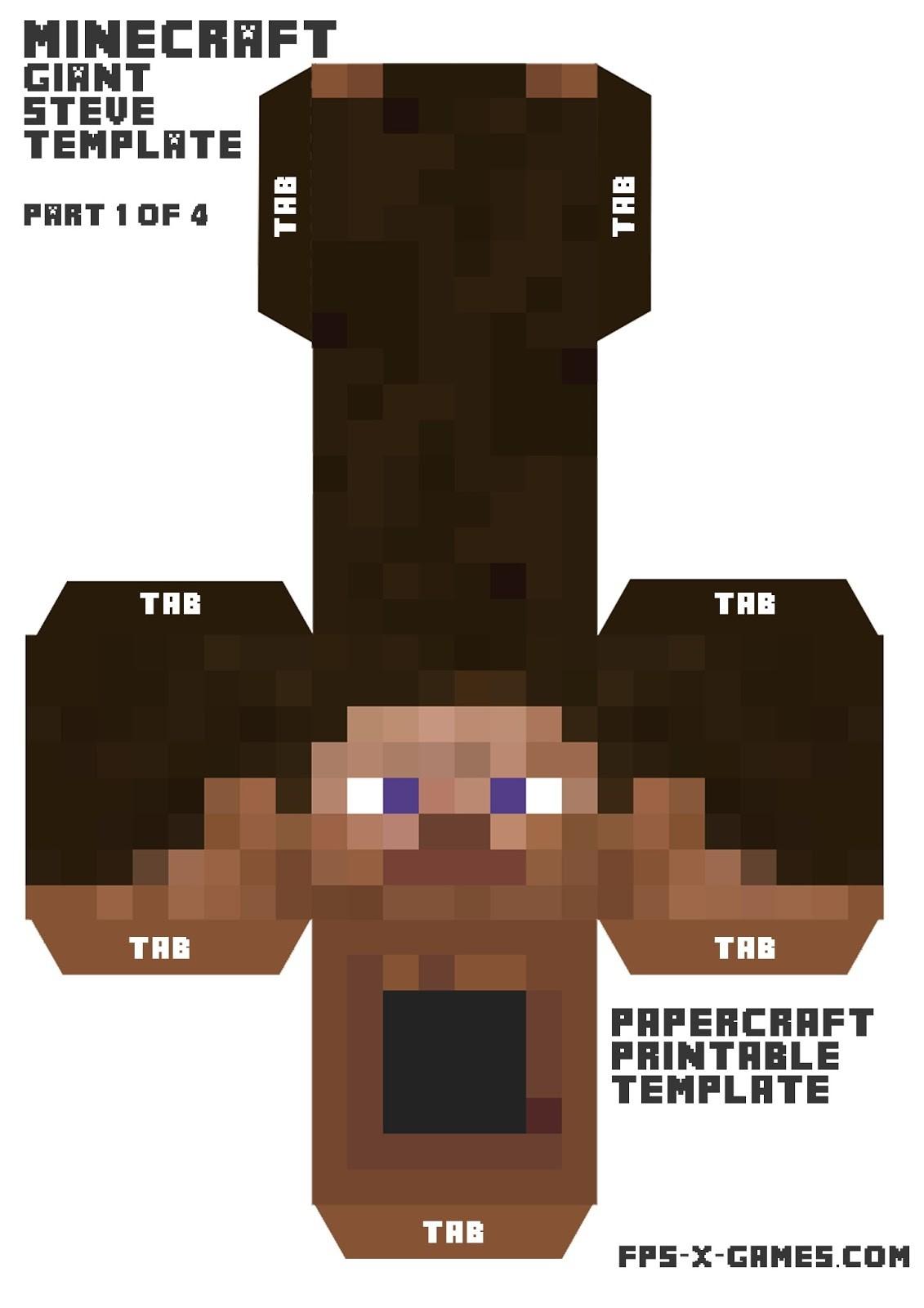Minecraft Steve Papercraft Minecraft Steve Template Costumepartyrun