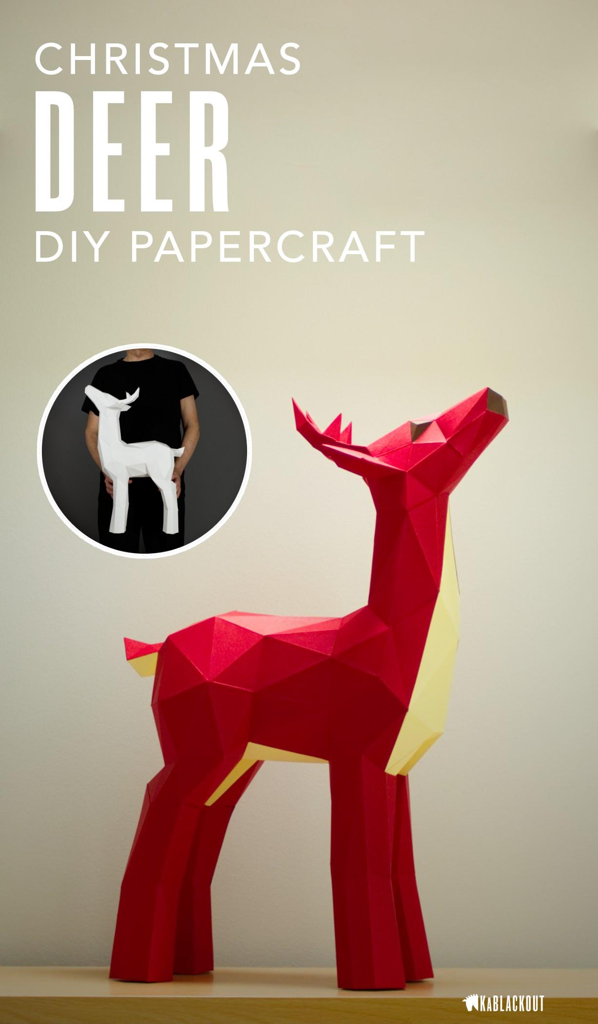 Model Papercraft Deer Papercraft Papercraft Deer Diy Deer Low Poly Deer Deer