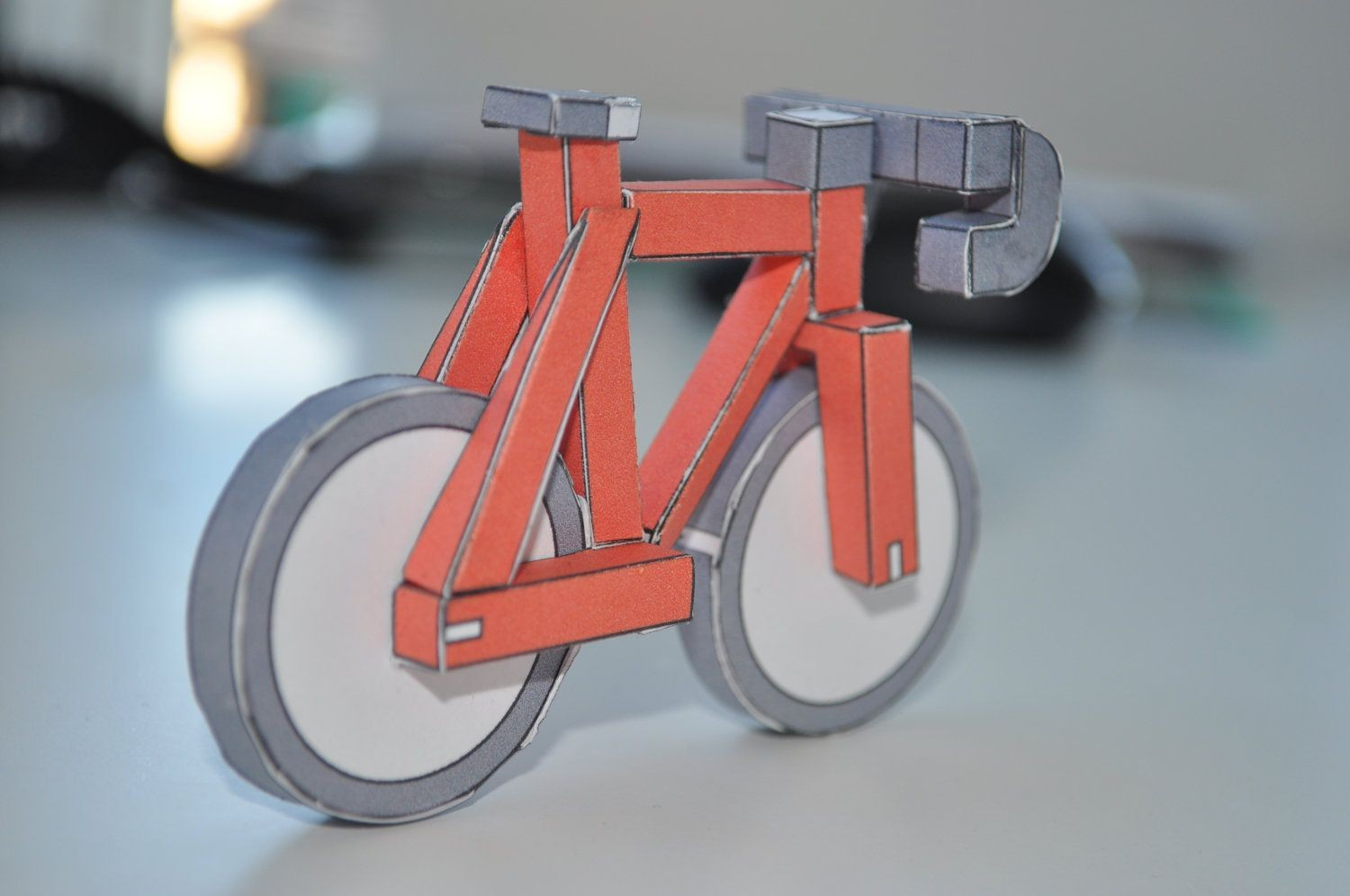 Motorcycle Papercraft Red Paperbikes V2 Fixed Gear Paper Bike Papercraft Bicycle Model