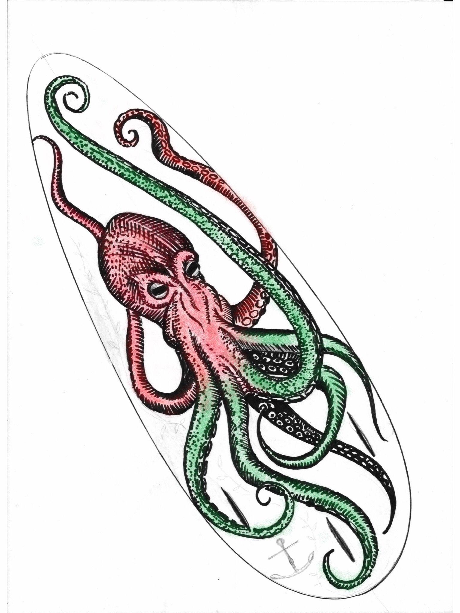 Octopus Papercraft Octopus Kraken Drawing for My Surfboard