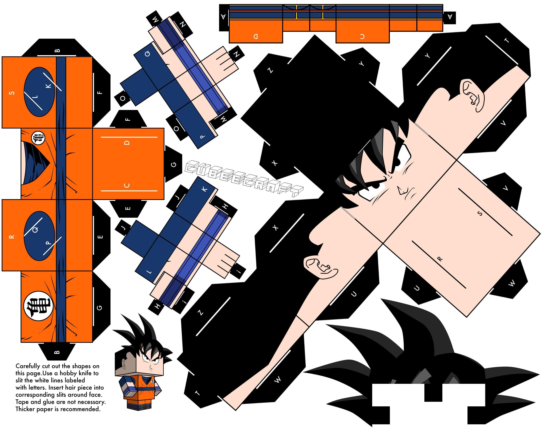 One Piece Papercraft Goku Dragonball Z Version by Cubeecraftviantart On