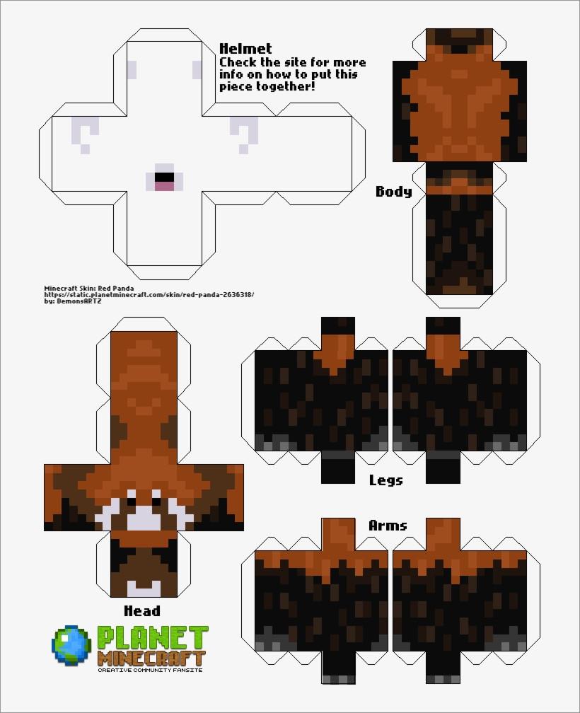 Panda Papercraft Red Panda Minecraft Skin Papercraft