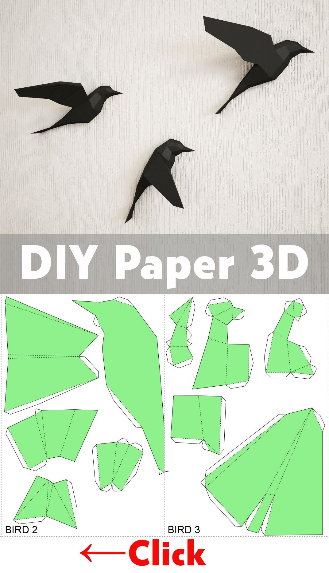 Papercraft 3d Diy Paper Birds On Wall 3d Papercraft Easy Paper Model Sculpture