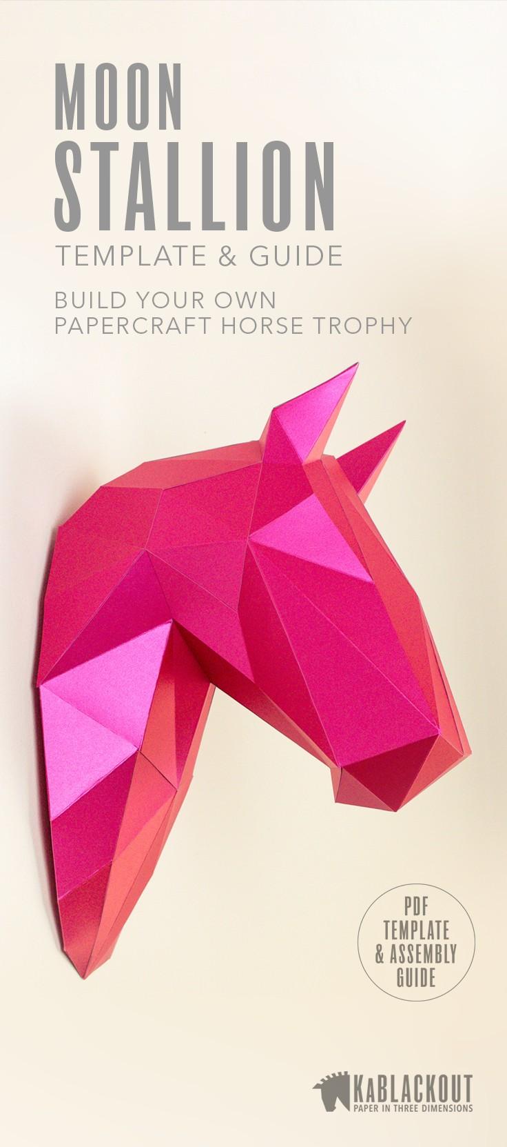 Papercraft 3d Horse Papercraft Diy Horse Template Low Poly Horse 3d Wall Trophy