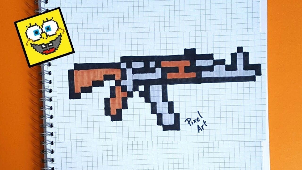 Papercraft Ak 47 Pixel Art Ak 47 Gun Pixel Art Pinterest