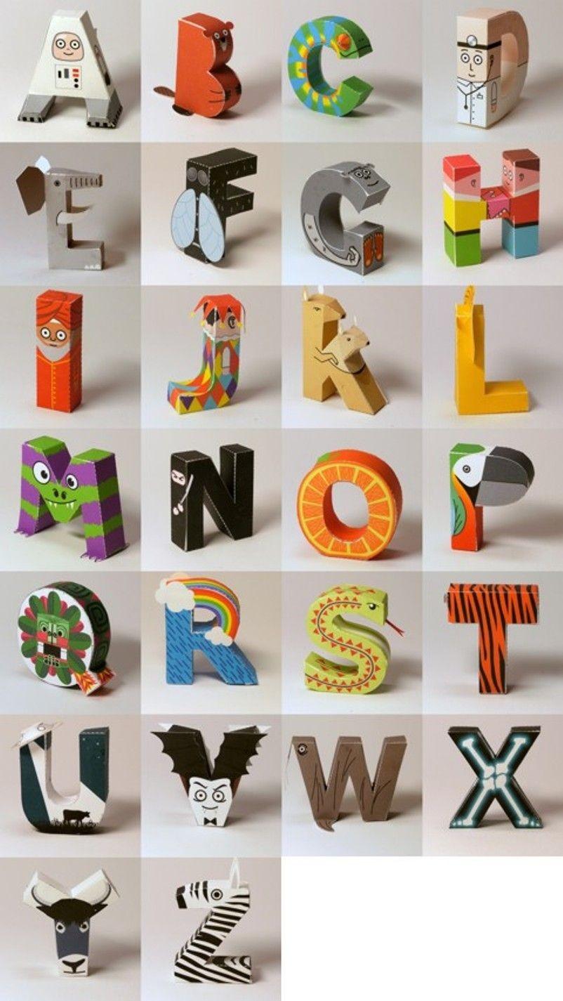 Papercraft Alphabet Un Alfabeto De Papel Para Recortar Y Armar Monkeyzen