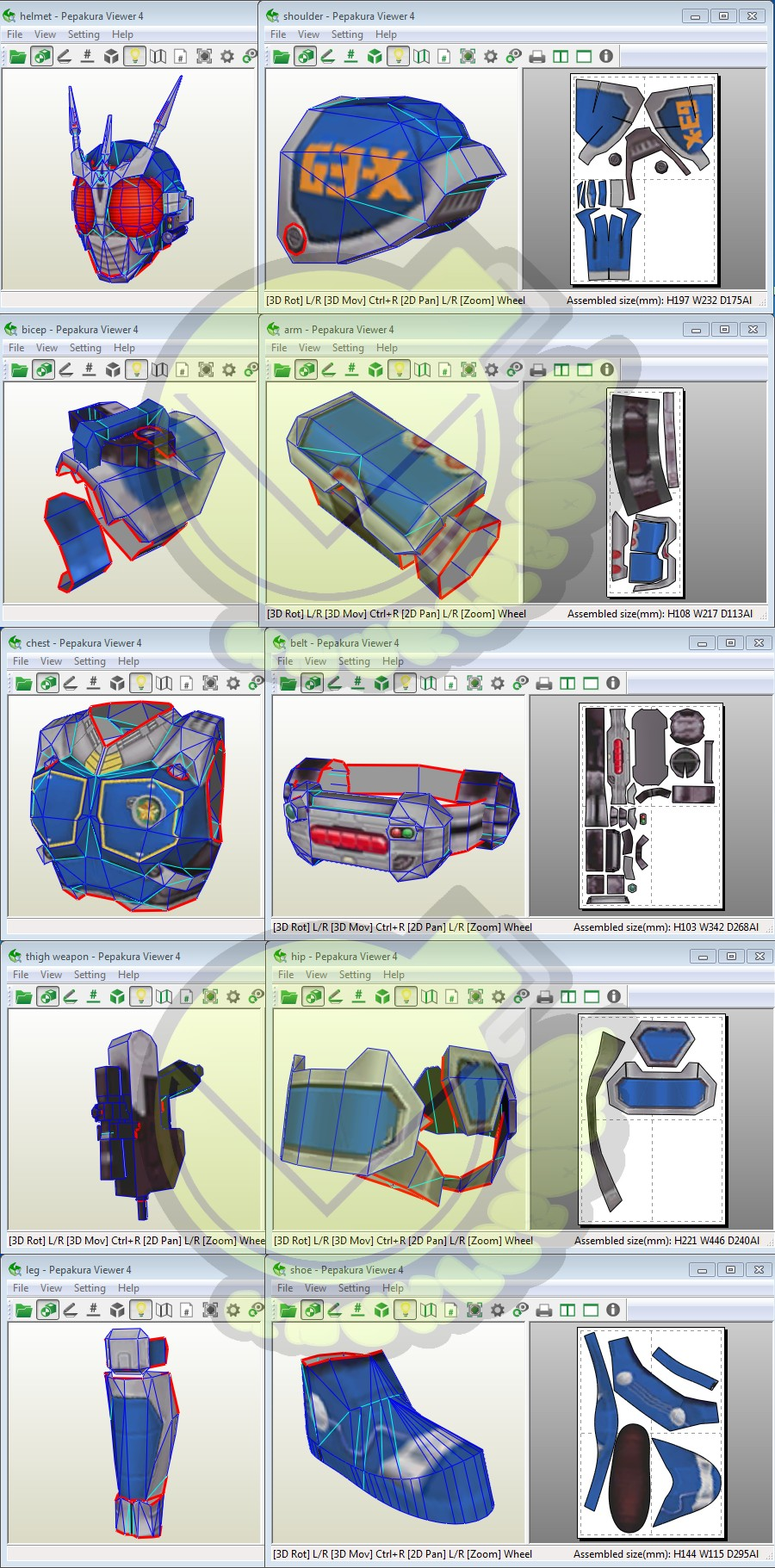 Papercraft Armor Kamen Rider G3x Costume Template Pattern Pepakura 3d Model