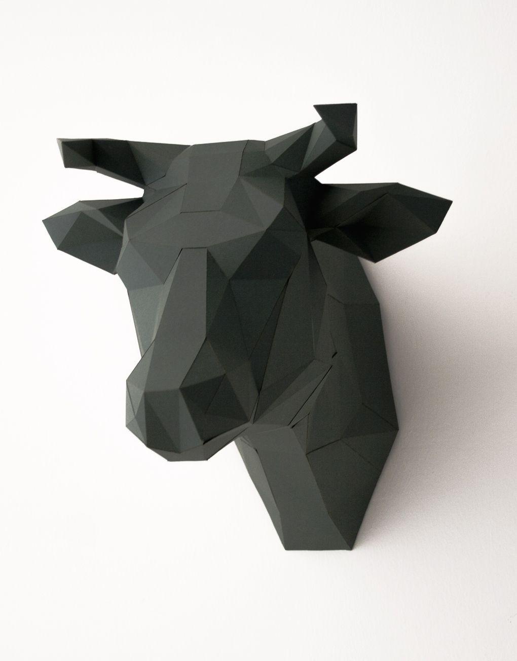 Papercraft Bear Bastelset Papier Trophäe Kuhkopf