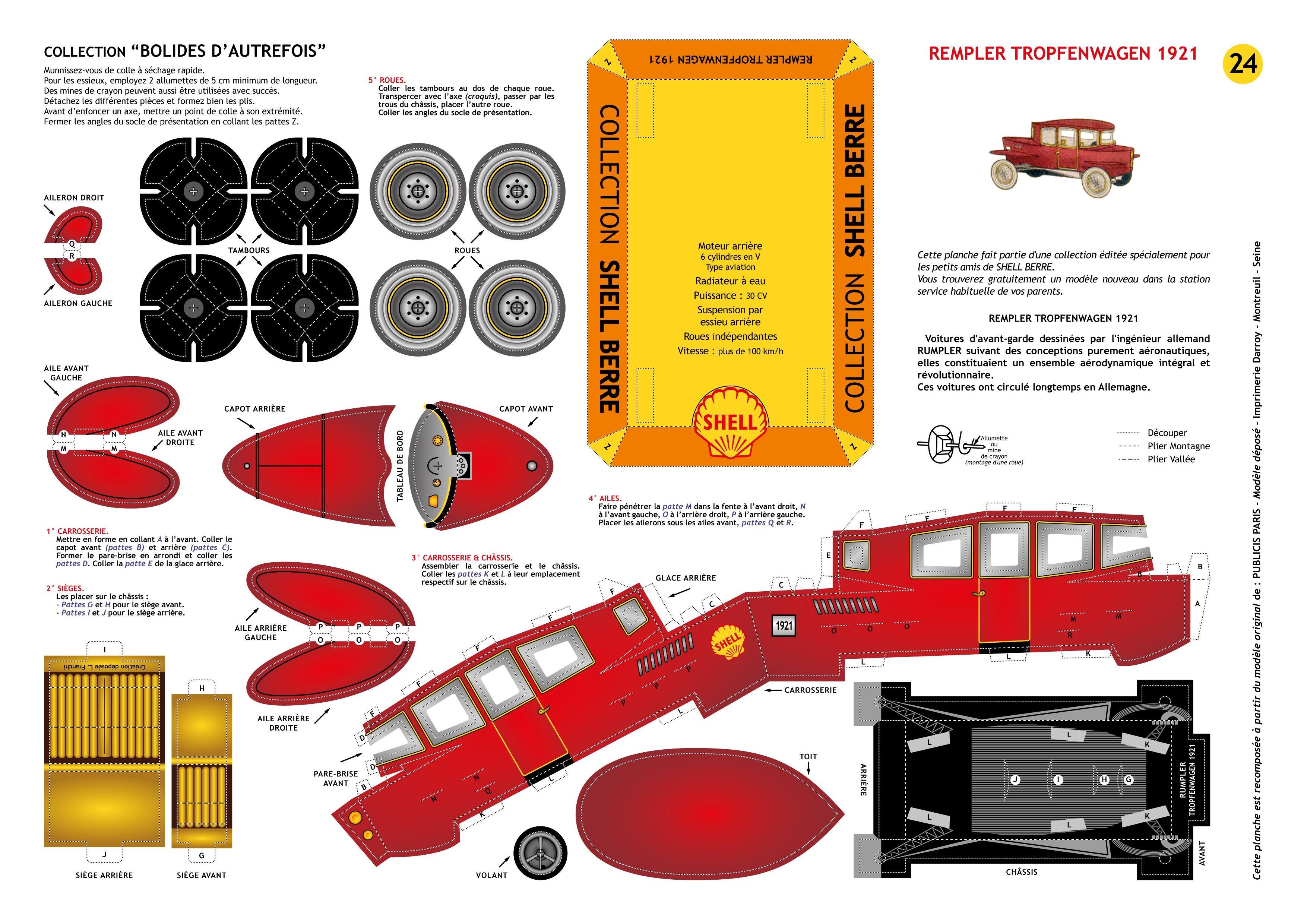 Papercraft Blogspot Maquette Shell Berre N°24 Rumpler Tropfenwagen 1921 Re Posée