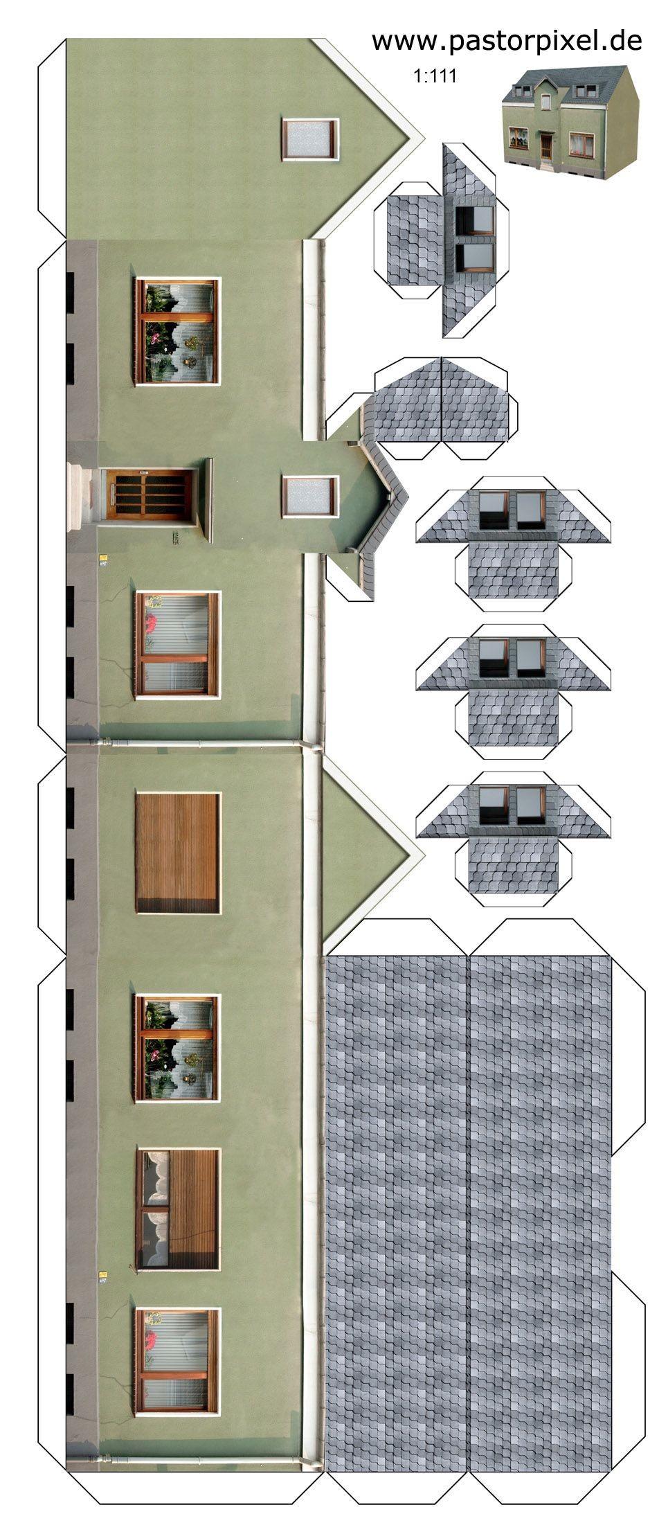 Papercraft Building Ausschneidebogen Haus 1 Printables Houses