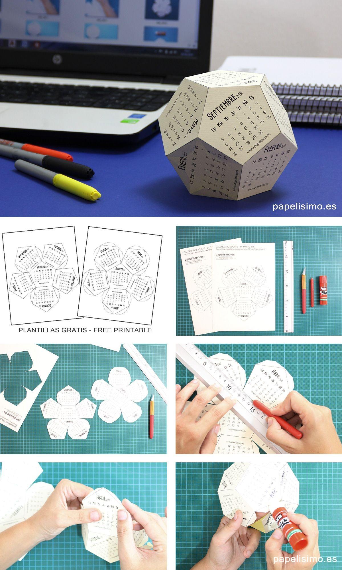 Papercraft Calendar Calendario 3d Imprimir Cartulina Con Plantillas Calendar