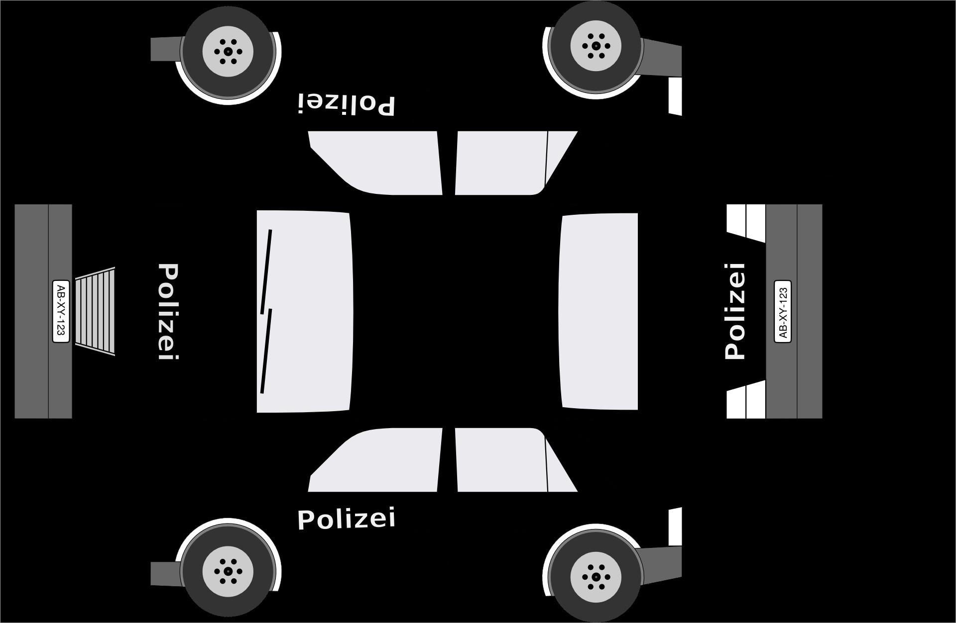 Papercraft Car Black and White German Police Car Papercraft