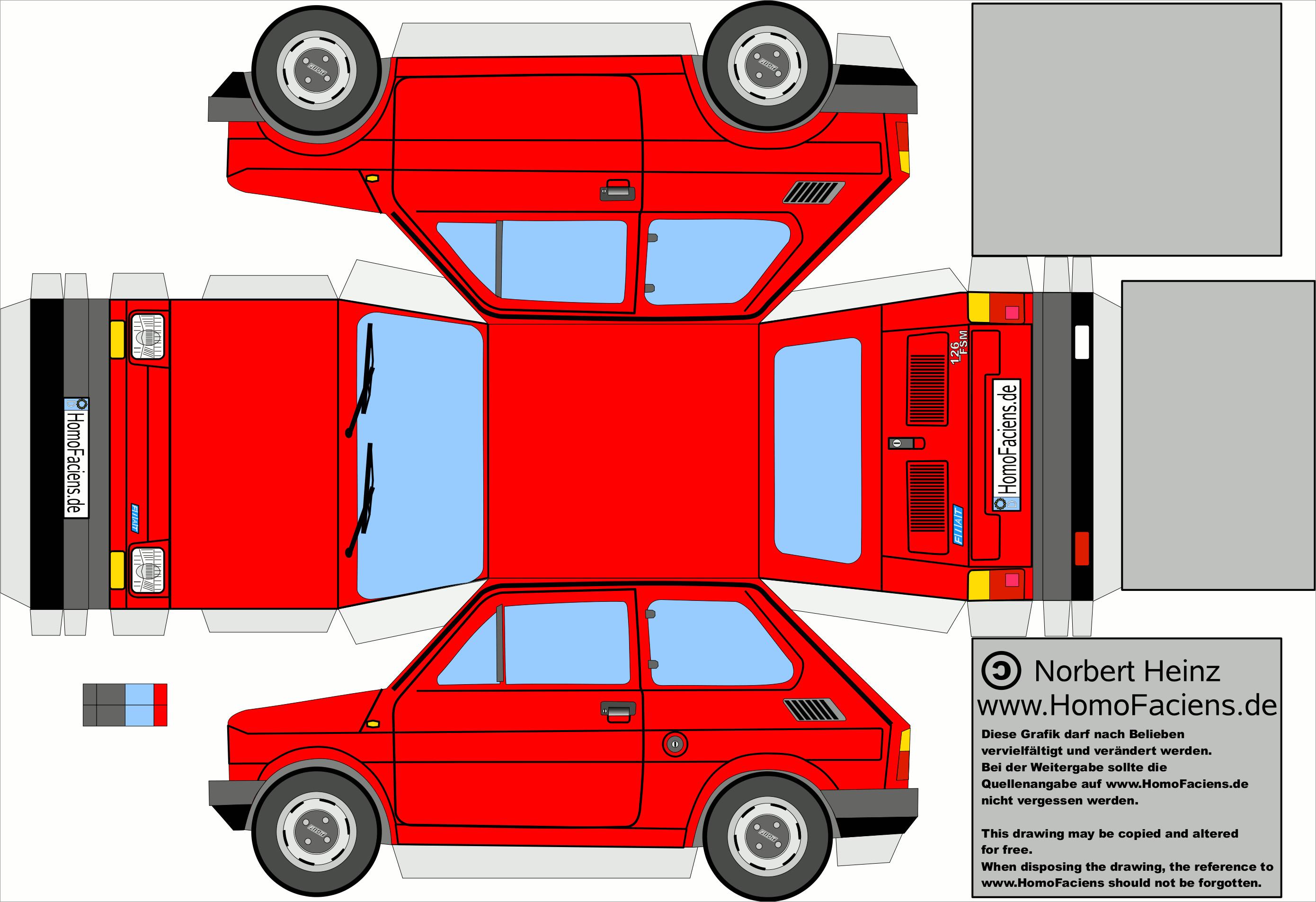 Papercraft Car Papercraft Car Template Fiat 126