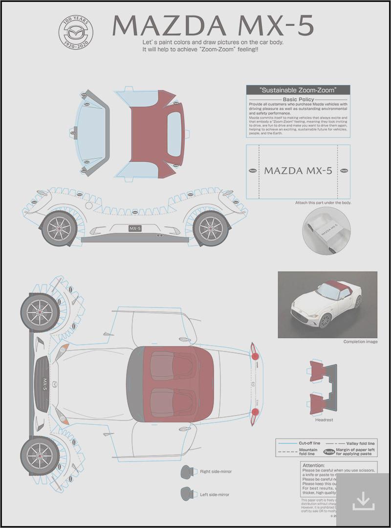 Papercraft Car Papercraft Car Template Mazda Mx-5