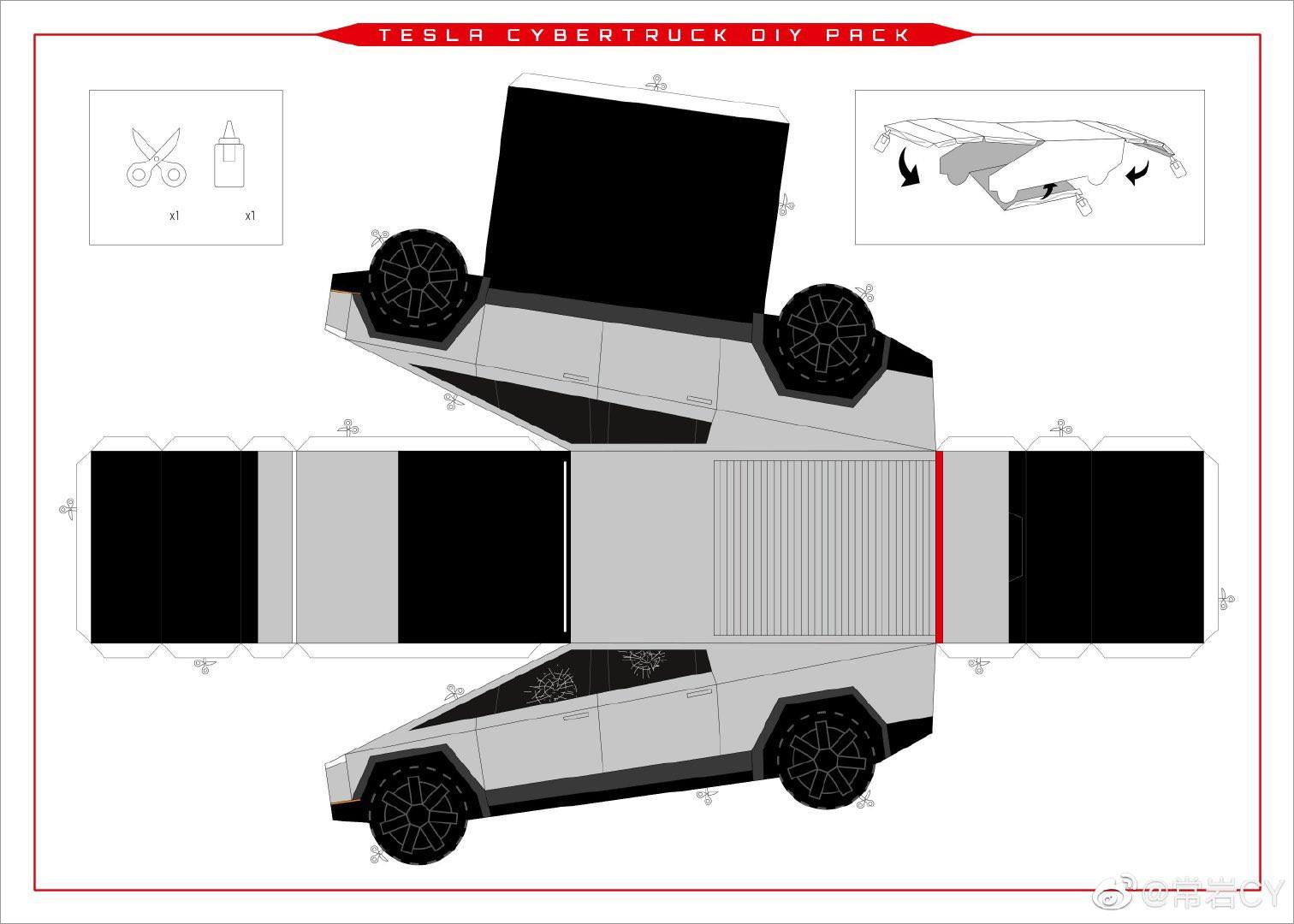 Papercraft Car Papercraft Car Tesla Cybertruck Paper Model