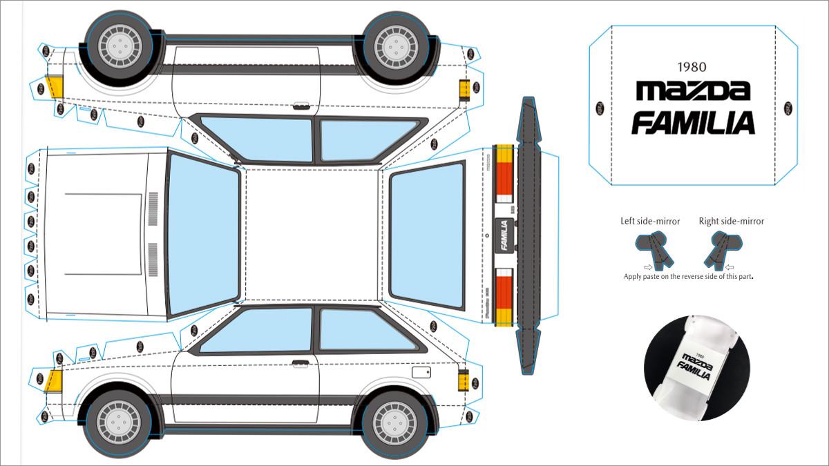 Papercraft Car Printable Papercraft Mazda Familia Car Template