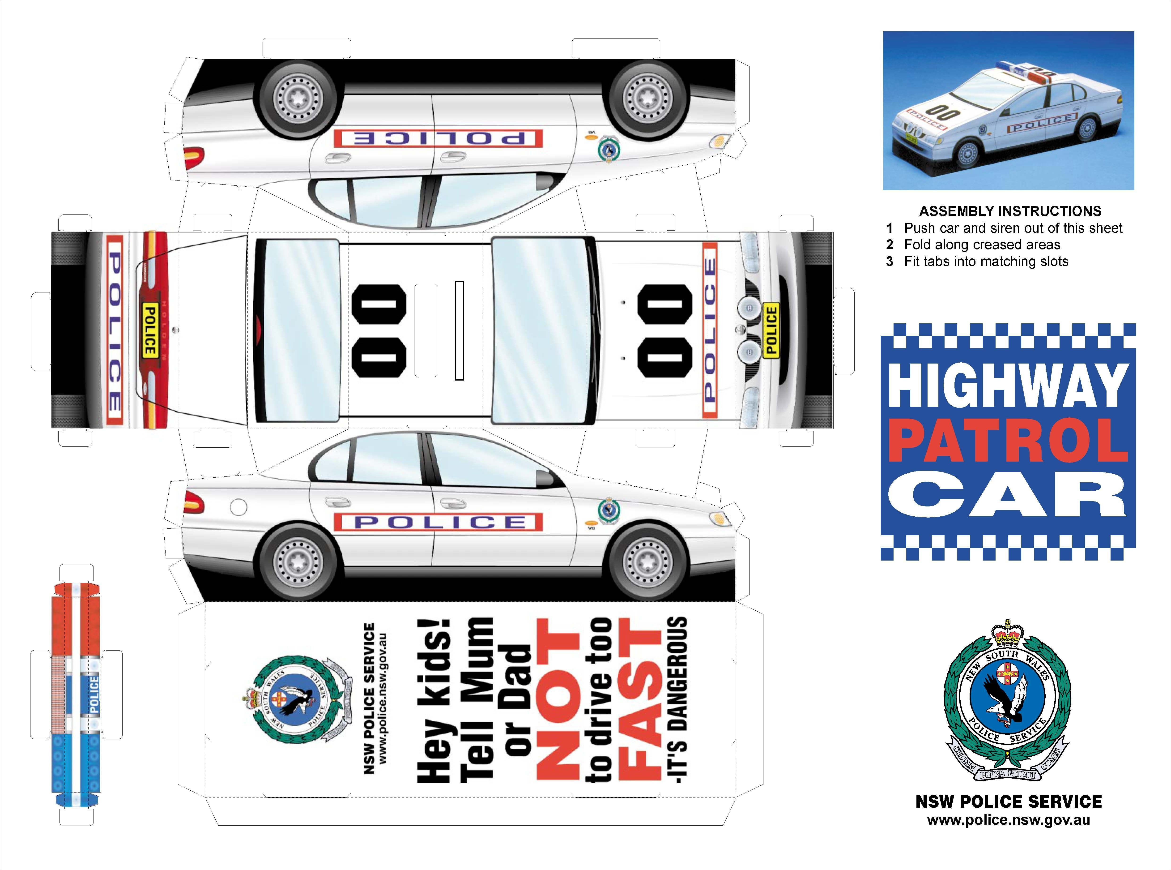 Papercraft Car Printable Papercraft Police Car Template