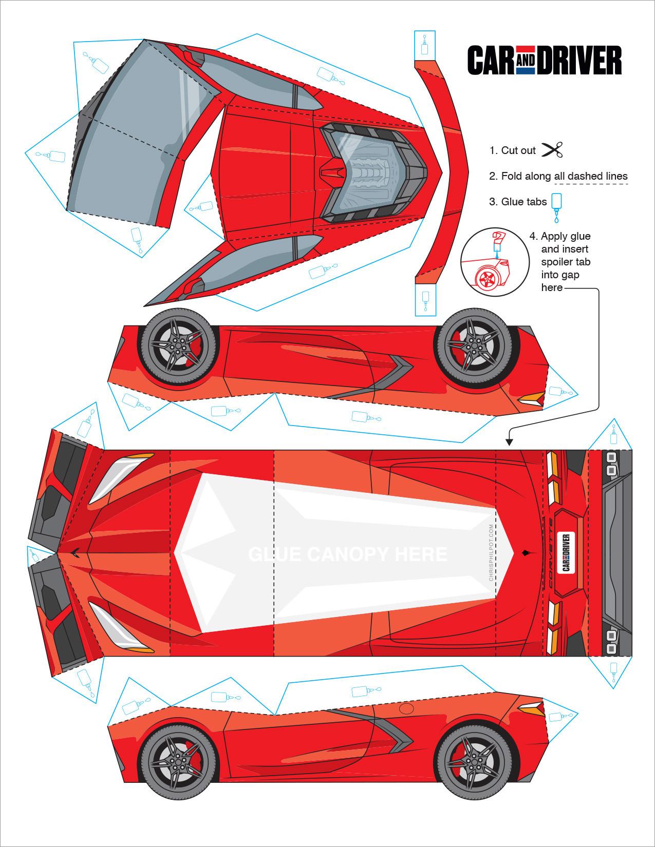 Papercraft Car Red Chris Philpot C8 Corvette Car Papercraft