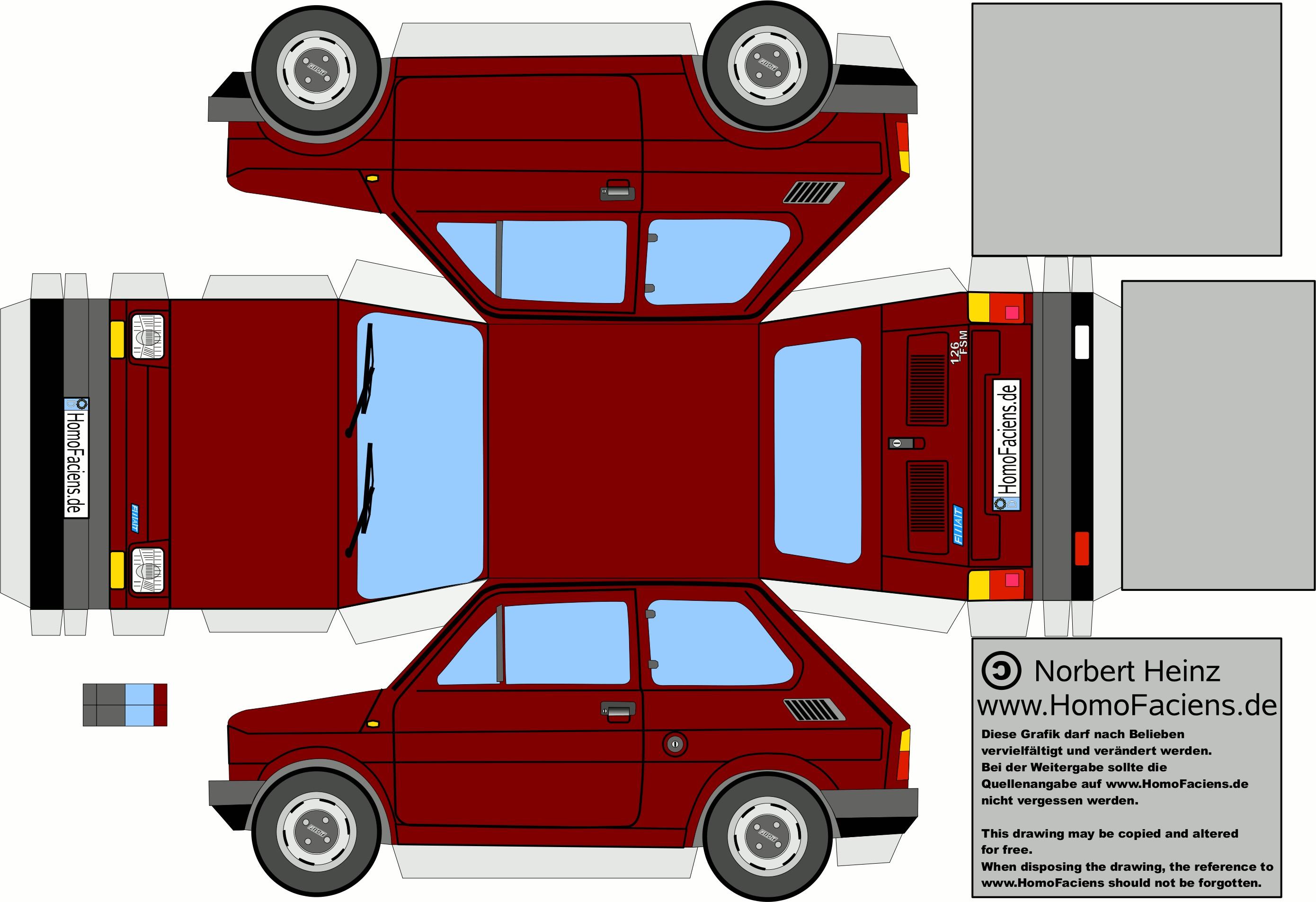 Papercraft Cars Fiat 126 Prima Serie Bordeau Cerca Con Google