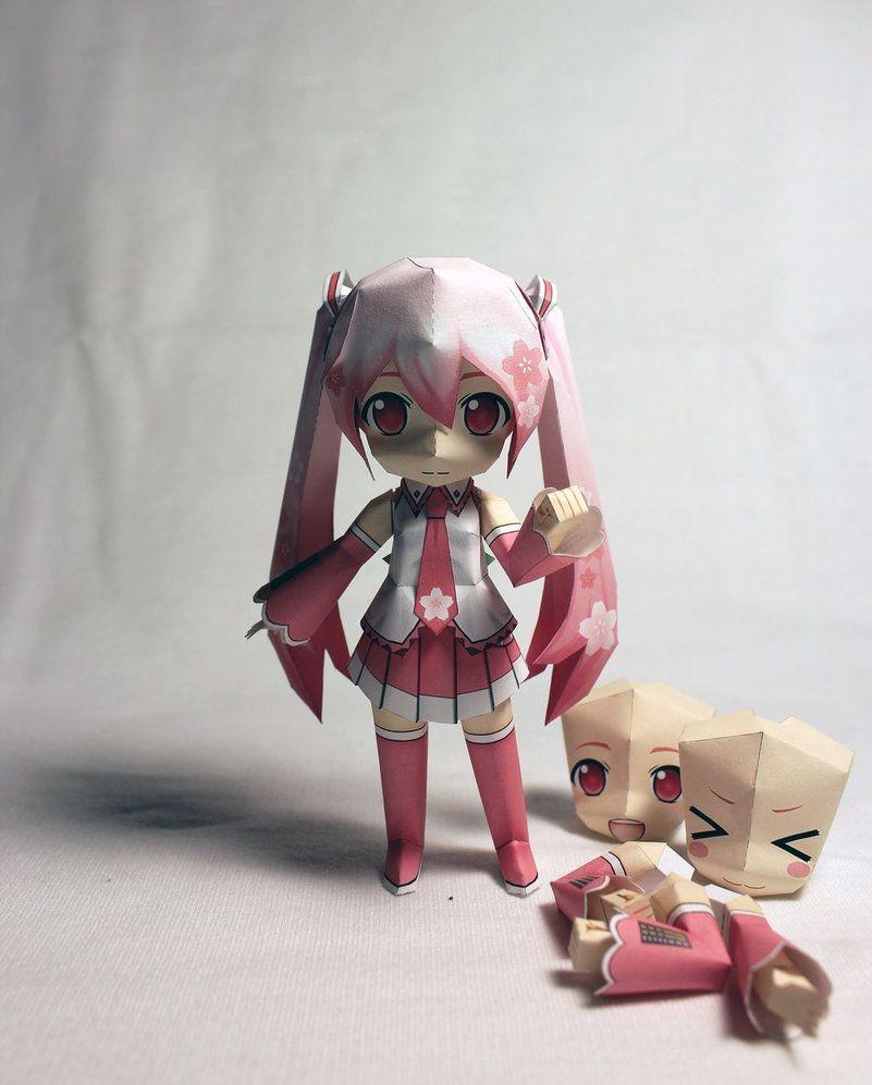 Papercraft Characters Sakura Miku Prototype Papercraft by Einohpmys Diy