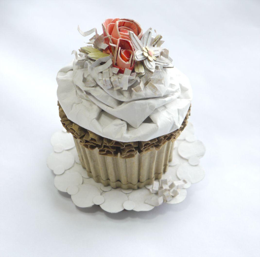 """Papercraft Cupcake Spring Wedding Cupcake"""" Recycled Cardboard"""