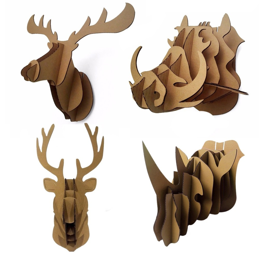 Papercraft Deer Decorative 3d Puzzle Cardboard Animal Head Wall Decoration Deer