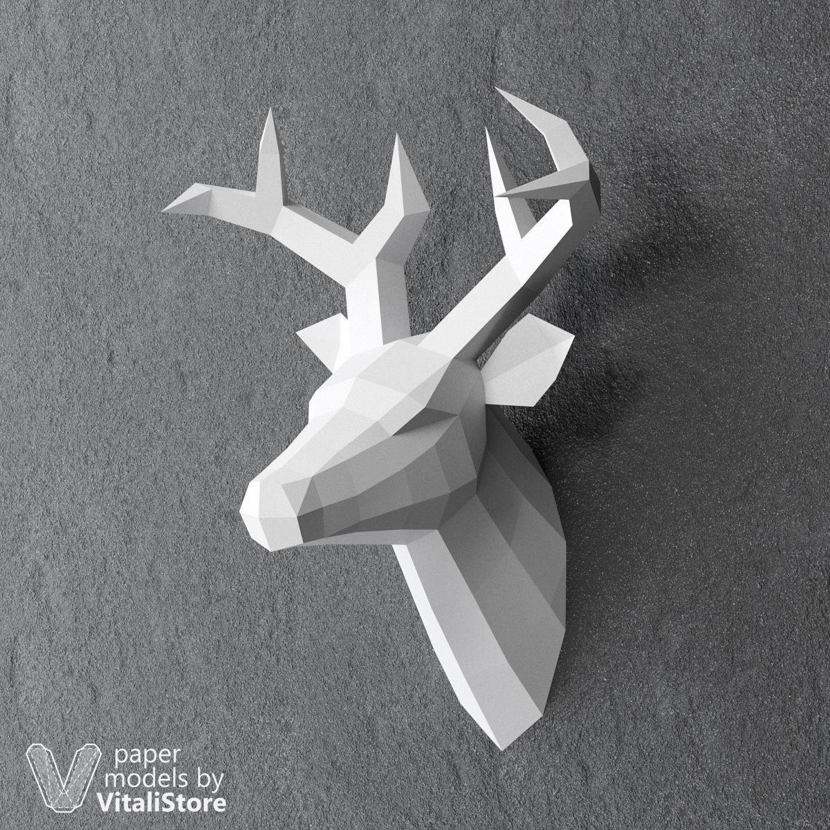 Papercraft Deer Deer Papercraft Diy Paper Sculpture Wall Decor