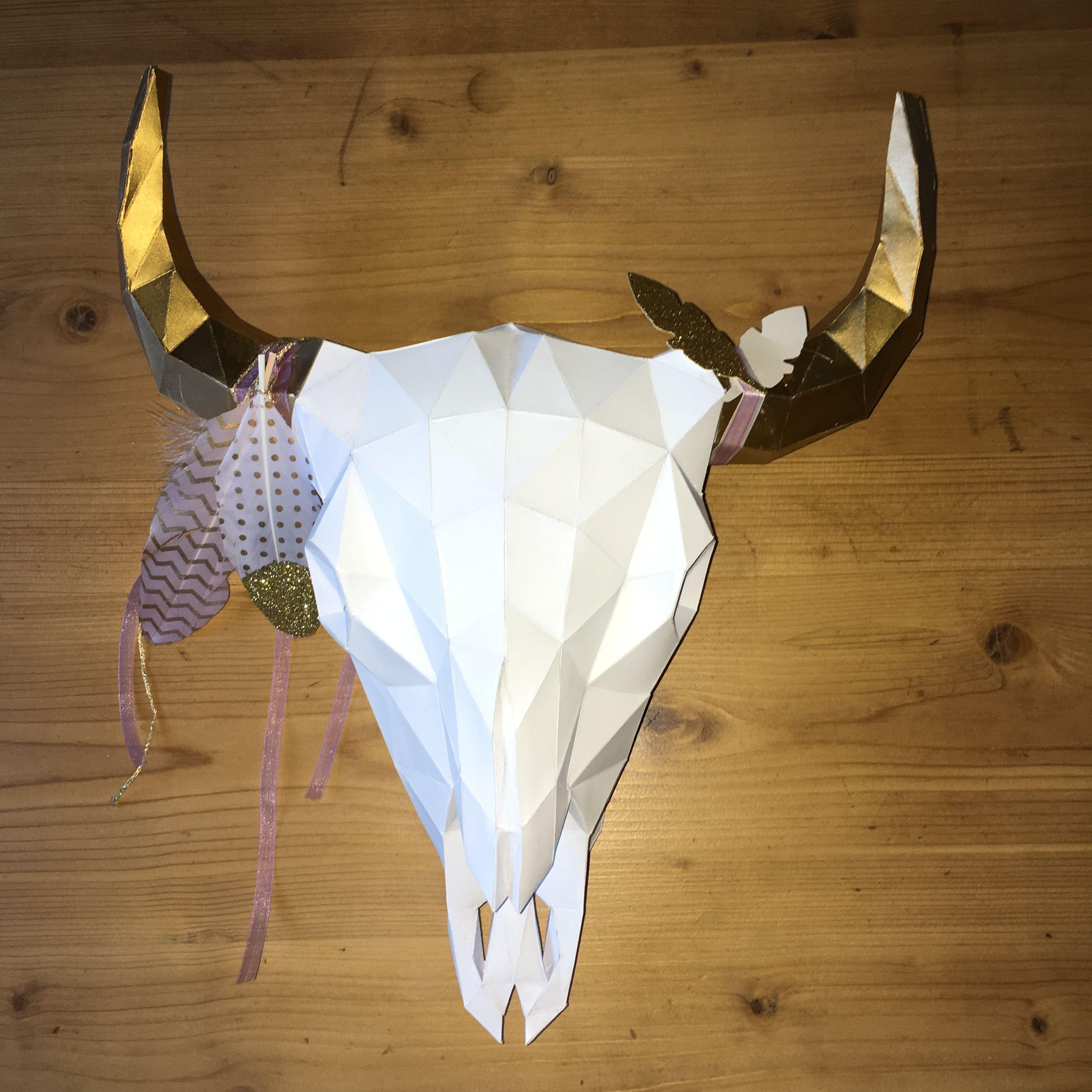 Papercraft Deer Head Buffalo Skull Papercraft Tªte De Bison Trophée Trophy