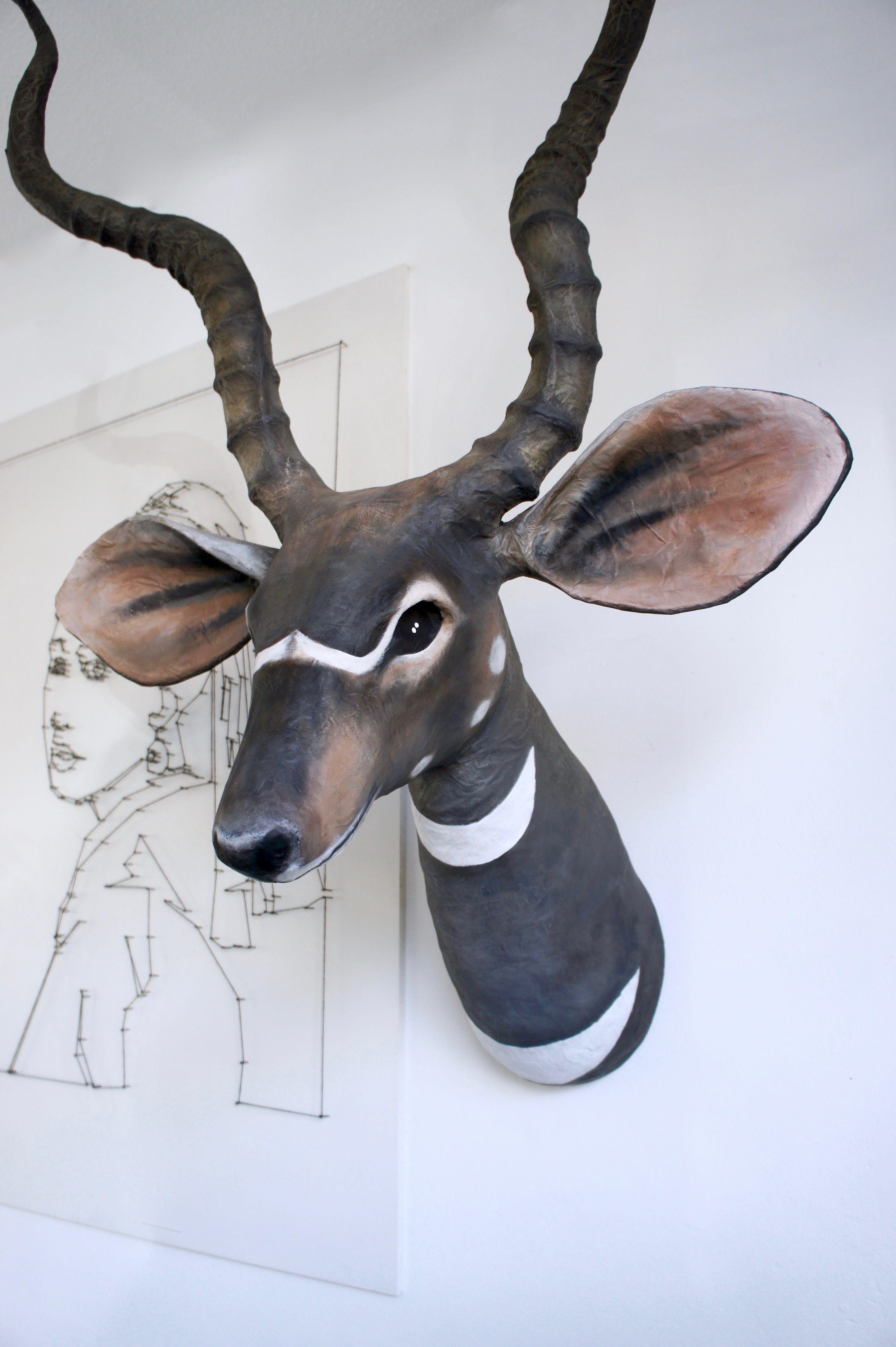 Papercraft Deer K U D U Made Of Paper Maché Made by Susan Meijerink Kudu forsale