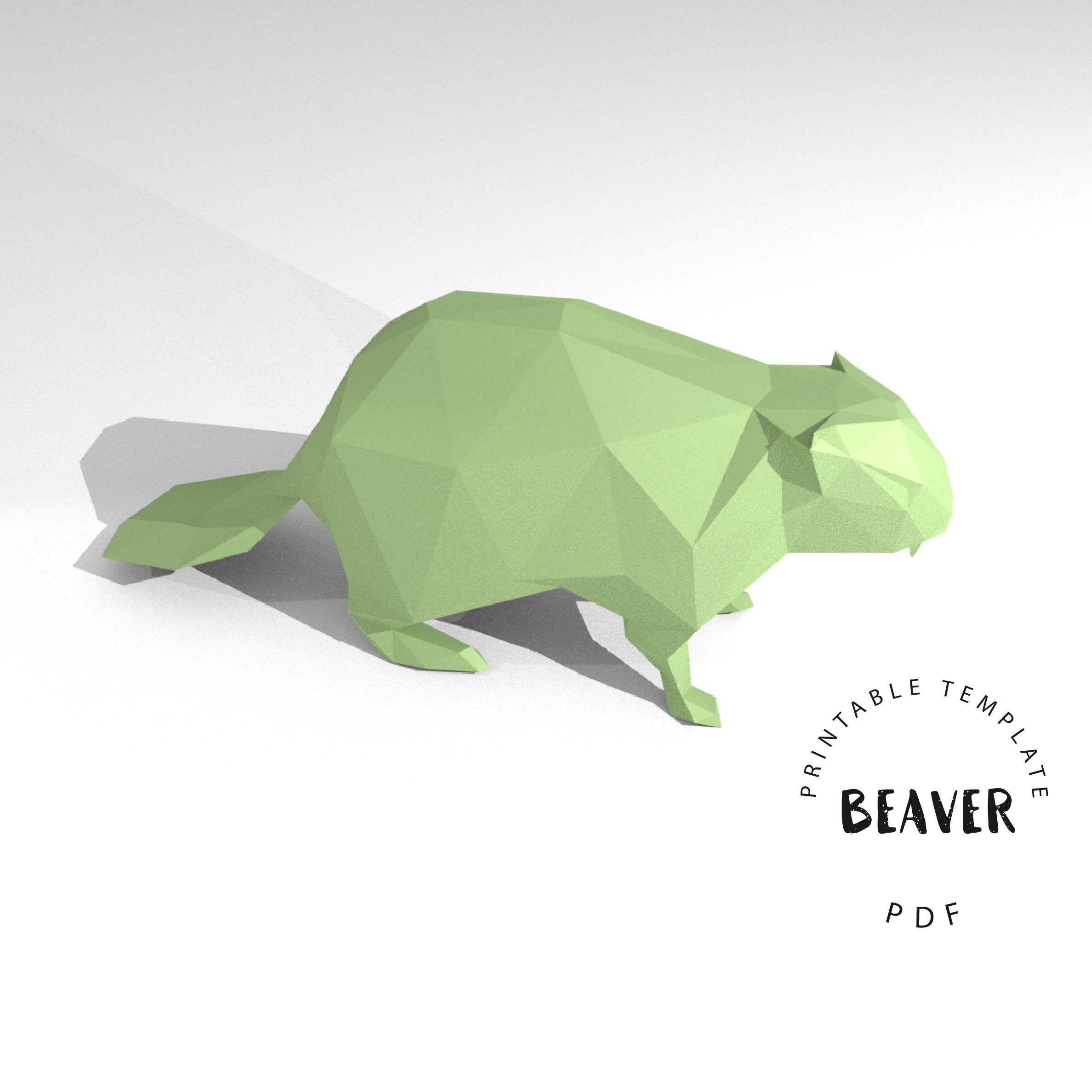 Papercraft Deer Printable Diy Template Pdf Beaver Low Poly Paper Model Template