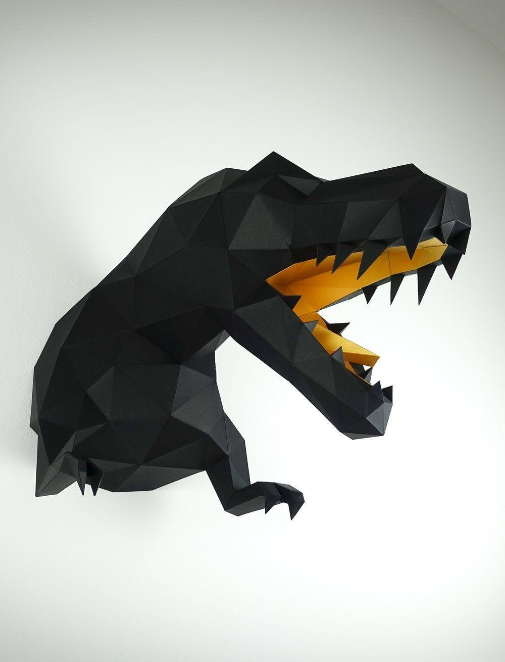 Papercraft Dinosaur Trex Wanddekoration Wandtrophäe
