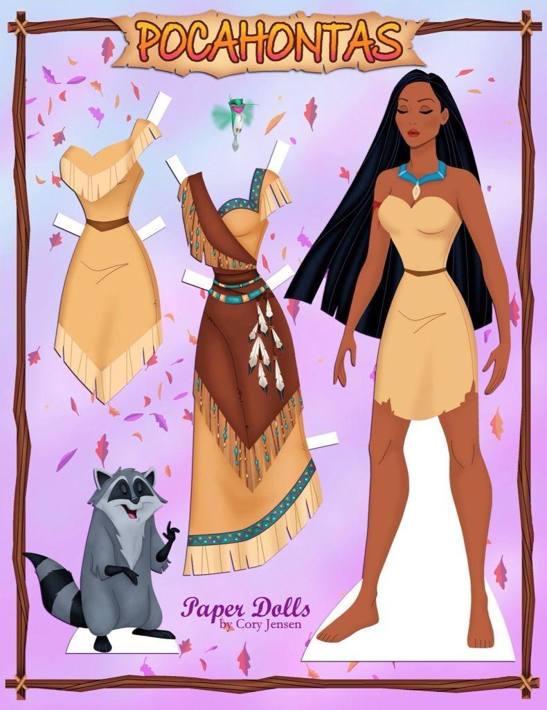 Papercraft Doll Pocahontas Paper Doll Paper Art Pinterest