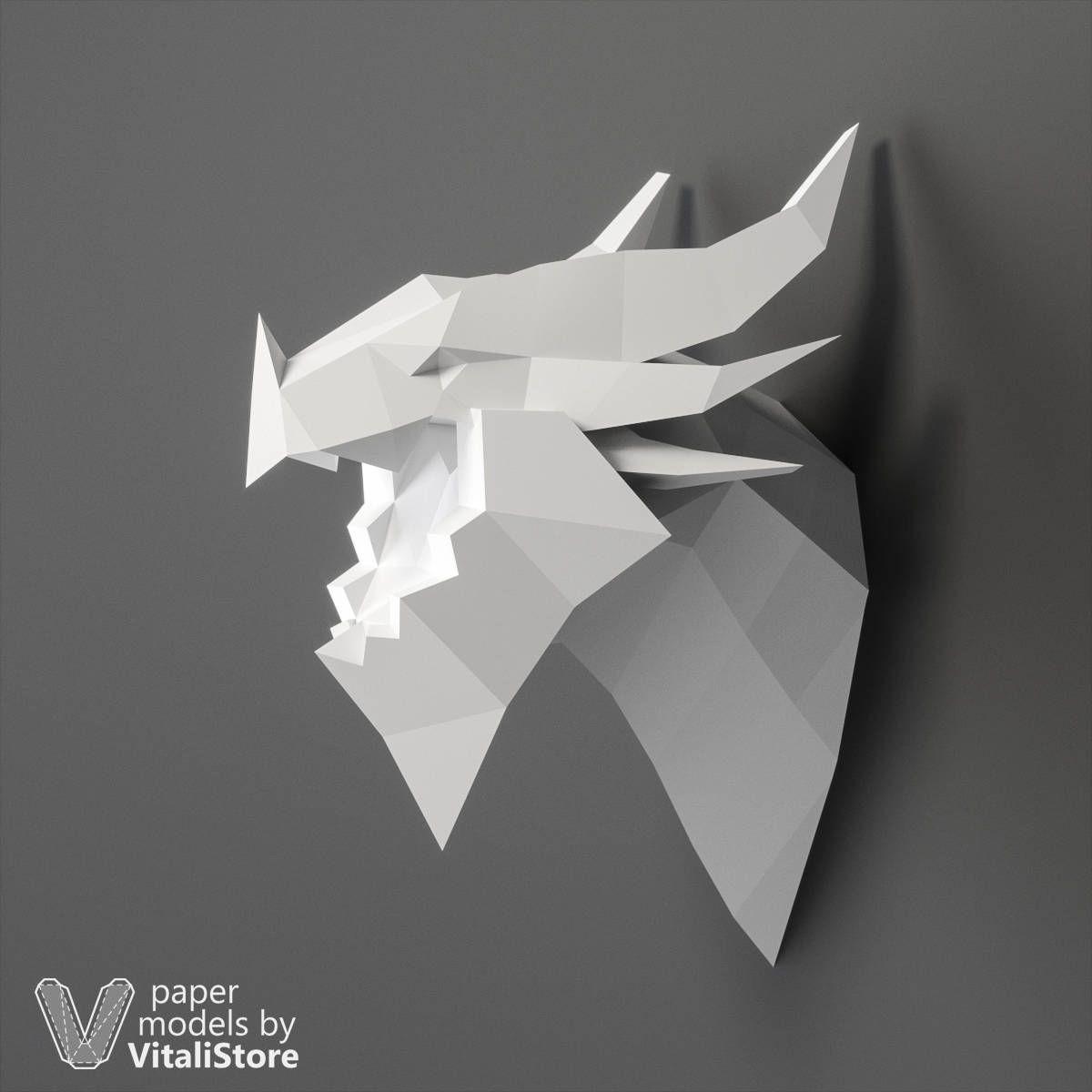 Papercraft Elephant Dragon Papercraft Low Poly Dragon Dragon Head Paper Craft Dragon