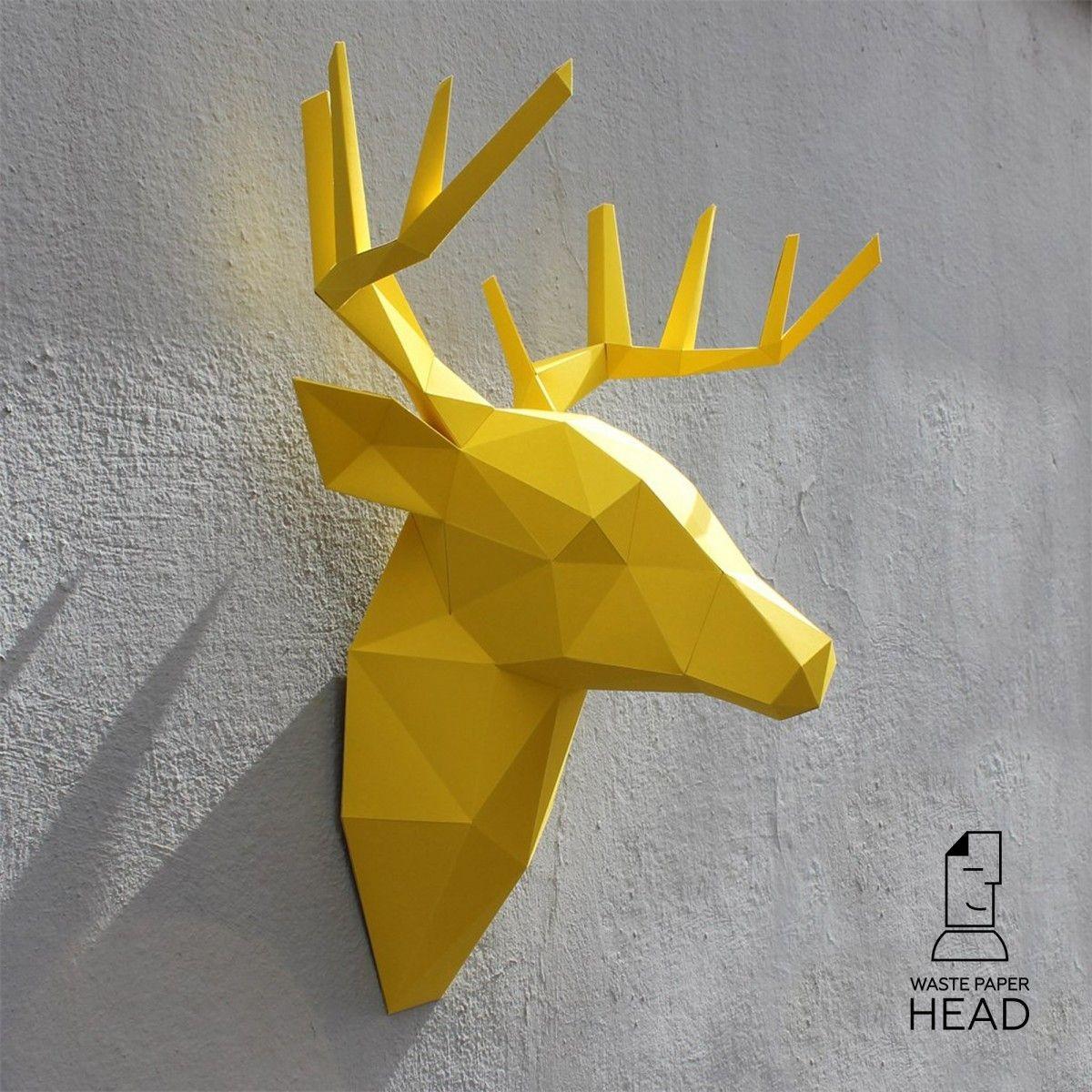 Papercraft Elephant Papercraft Deer Head №2 Digital Template