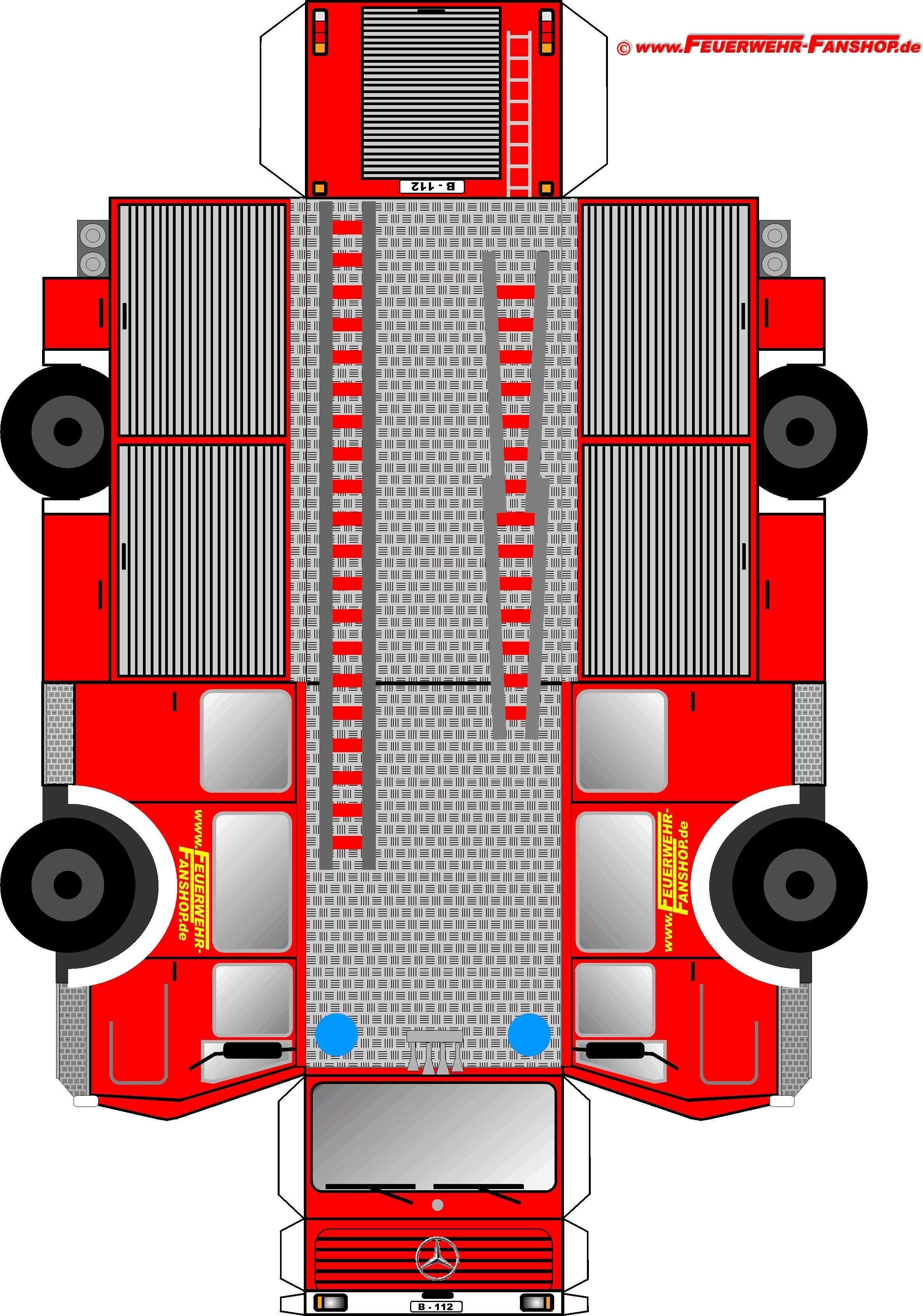 Papercraft Engine Feuerwehrauto Basteln Papr Pinterest