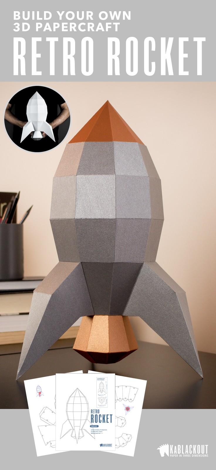Papercraft Fox Rocket Papercraft 3d Paper Craft Rocketship