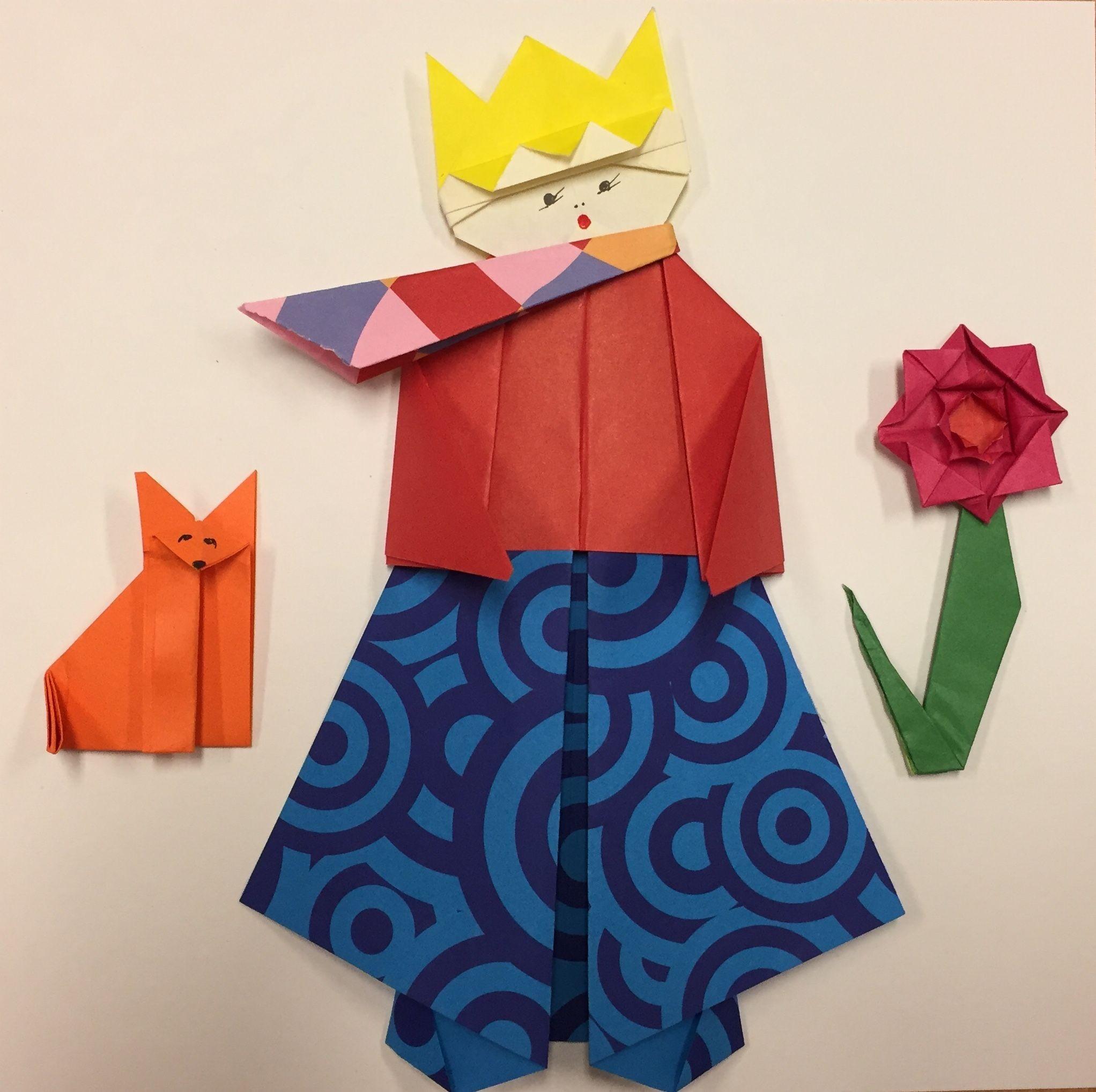 Papercraft Frog origami Literario El Principito 👑🌹 origami Literario