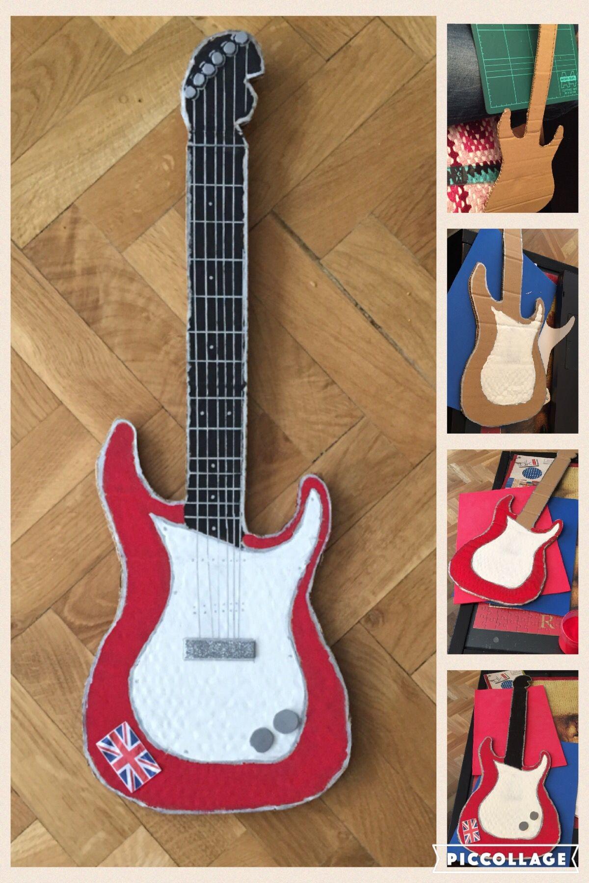 Papercraft Guitar Rockstars Guitar Guitarra Realizada Con Cart³n Para Carnavales