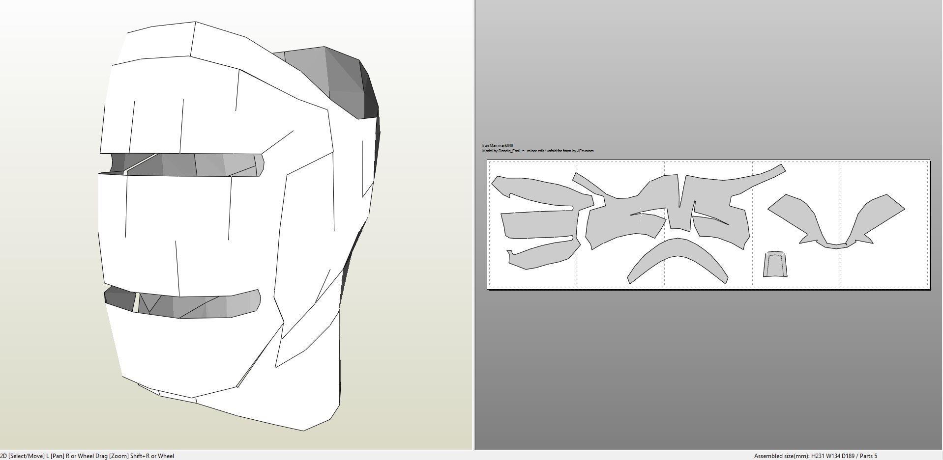 Papercraft Halo Helmet Papercraft Pdo File Template for Iron Man Mark 2 Full Armor Arte
