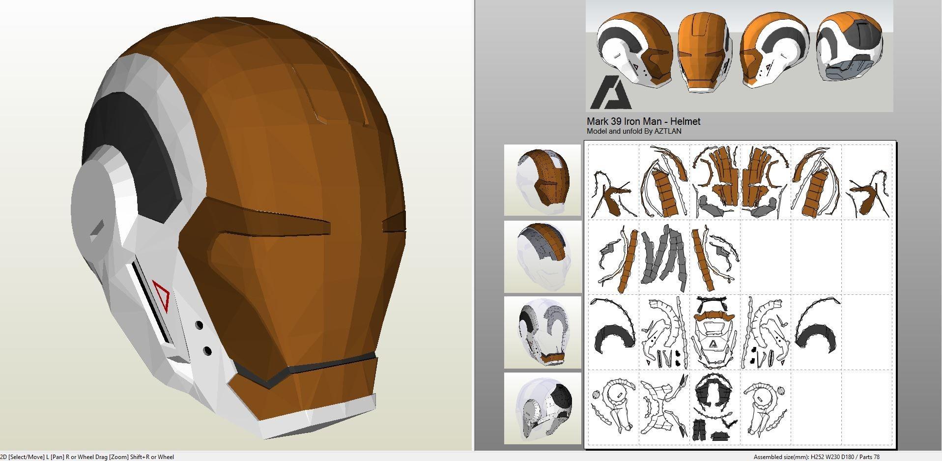 Papercraft Halo Helmet Papercraft Pdo File Template for Iron Man Mk7 Full Armor Arte Em