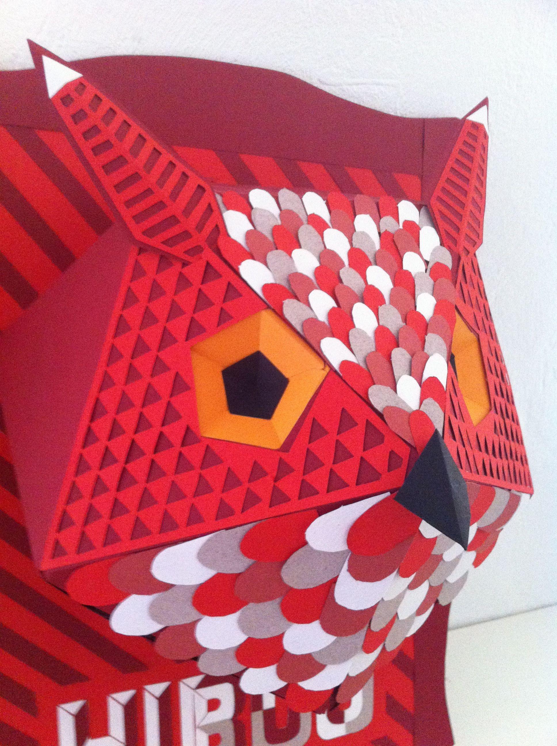 Papercraft Hand Hand Made Papier Tªte De Hibou En Papier Coloré Décoration Murale